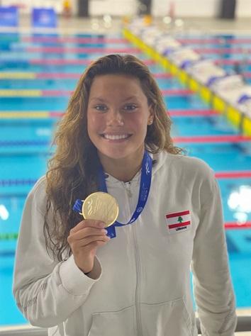 ذهبية وبرونزيتان للبنان في سباحة العرب