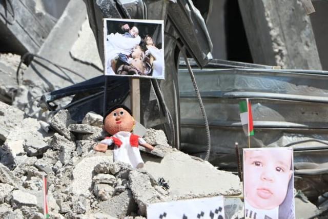 معرض على ركام المنازل بمحافظة خانيونس جنوب قطاع غزة لاستعراض جرائم الاحتلال