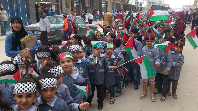 هيئة المناصرة نظمت مسيرة أطفال في نهر البارد في ذكرى النكبتين