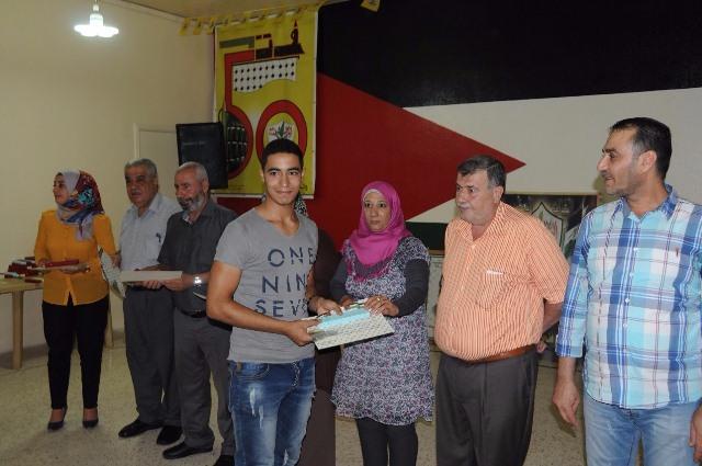 المكتب الطلابي لحركة فتح يكرم الناجحين بالشهادات الرسمية في الشمال
