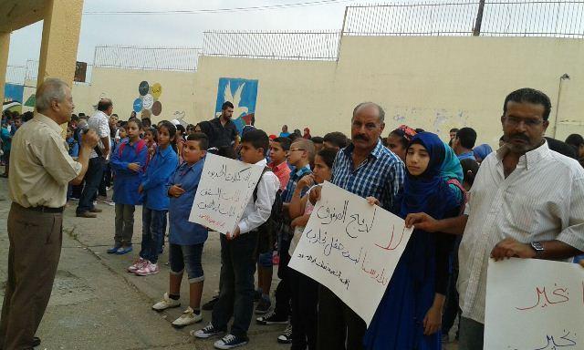 سلسلة من الاعتصامات الاحتجاجية في مدارس الأنروا في منطقة صور