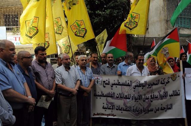 اعتصام مطلبي للنازحين الفلسطينيين من مخيمات سوريا في الشمال
