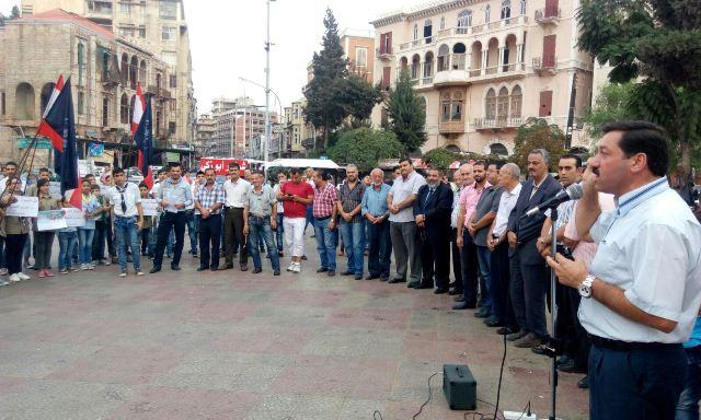 وقفة تضامنية مع فلسطين في ساحة جمال عبد الناصر طرابلس
