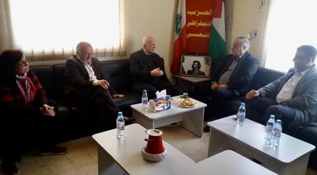 وفد من الجبهة الشعبية لتحرير فلسطين زار الأمين العام للحزب الديمقراطي الشعبي نزيه حمزة