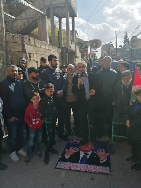وقفة احتجاجية في مخيم البص رفضًا لصفقة القرن