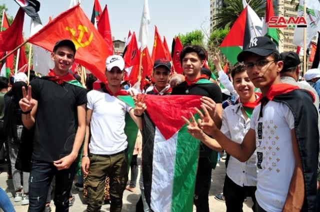 دمشق: قوى وأحزاب سورية وفلسطينية تنظم وقفة مُساندة لفلسطين