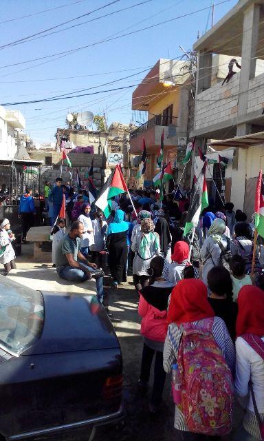 مسيرة طلابية تجوب شوارع مخيم الجليل تضامناً مع الانتفاضة الفلسطينية