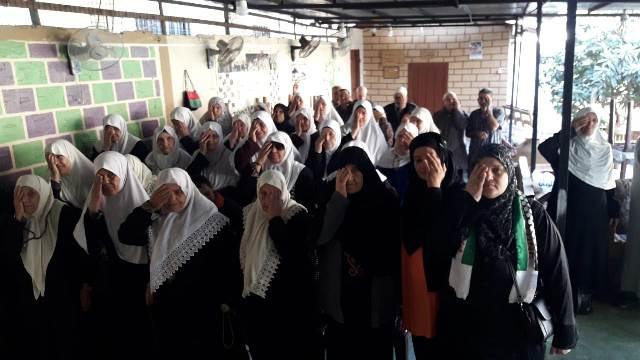 دار الشيخوخة النشطة ولجان المرأة الشعبية الفلسطينية تقيمان وقفة تضامنية مع غزة في البارد