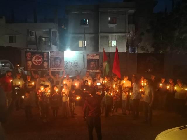 الجبهة الشعبية تنظم وقفة تضامنية في مخيم نهر البارد مع أهلنا في غزة
