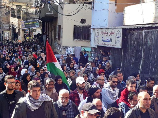 تظاهرة حاشدة في مخيم البداوي تنديدًا بقرار ترامب