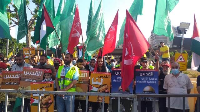 الجبهة الشعبية لتحرير فلسطين تشارك بوقفة التضامن نصرة لفلسطين ببيروت