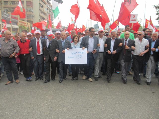 مظاهرة حاشدة في بيروت لمناسبة عيد العمال