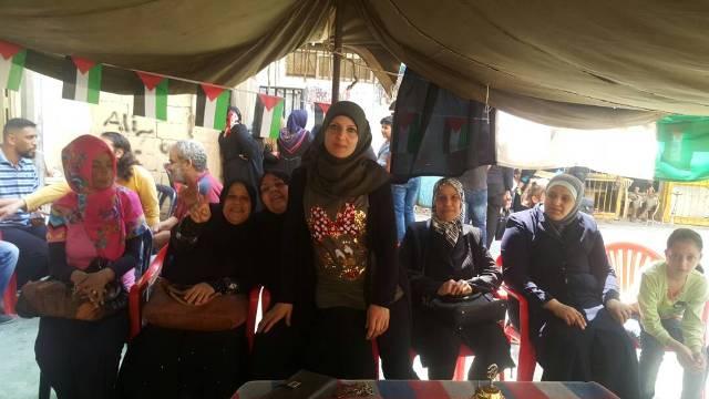 لجان المرأة الشعبية الفلسطينية في بيروت تزور خيمة الاعتصام في شاتيلا