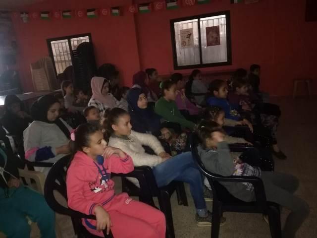 منظمة الشبيبة الفلسطينية في البرج الشمالي تعرض فيلما وثائقيا عن تاريخ القضية الفلسطينية