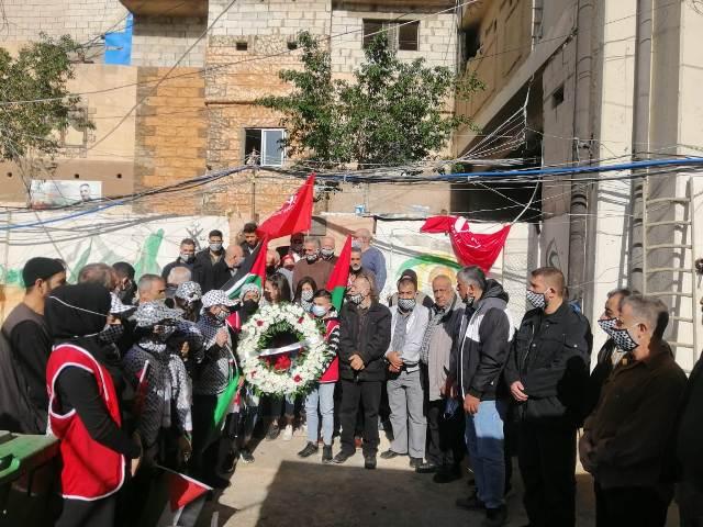 الجبهة الشعبية لتحرير فلسطين تضيء شعلة انطلاقتها الثالثة والخمسين وتضع إكليلًا من الزهر على أضرحة الشهداء  في برج البراجنة في بيروت