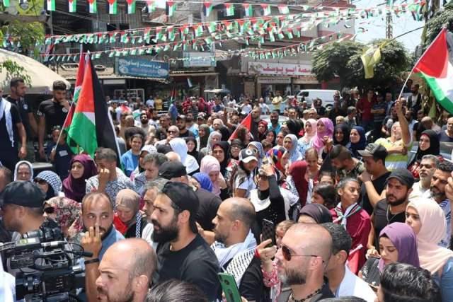 اعتتصام في مخيم برج البراجنة رفضًا لقرار وزير العمل اللبناني