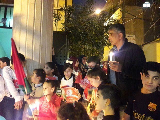 المنظمات الجماهيرية في الجبهة الشعبية تضيء الشموع لروح الشهيد أحمد جرار