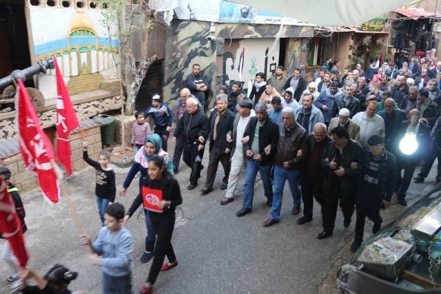 مسيرة و إيقاد شعلة الانطلاقة ال51 في مخيم برج البراجنة