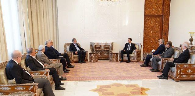 الرئيس الأسد لوفد من قادة وممثلي القوى الفلسطينية: وجود الكيان الإسرائيلي في المنطقة مبنيٌّ على إرهاب شعوبها والتعدي على حقوقها