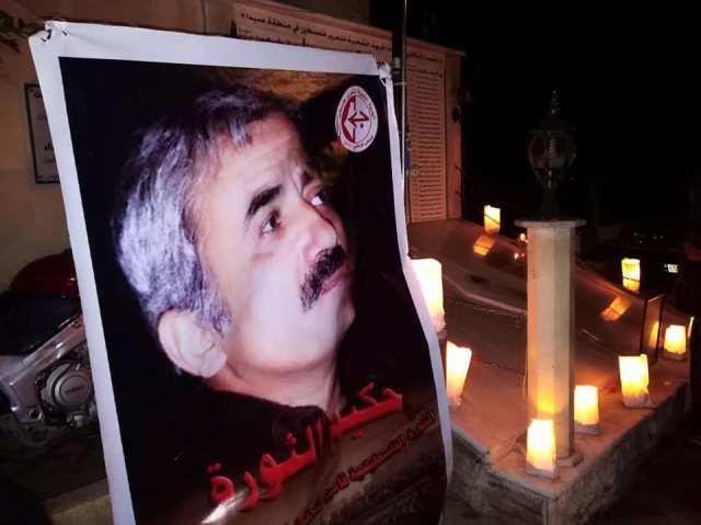 في ذكرى رحيل القادة الكبار إضاءة شموع عند النصب التذكاري لشهداء الجبهة في عين الحلوة
