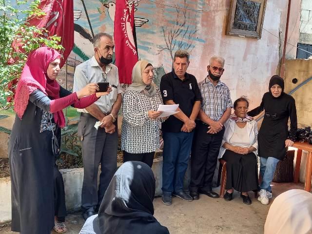 لجان المرأة الشعبية الفلسطينية في عين الحلوة أقامت وقفة تضامنية للمطالبة بالإفراج عن المناضلة خالد جرار