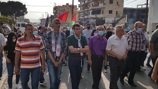 الحزب الشيوعي اللبناني في عكار والجبهة الشعبية لتحرير  فلسطين يقيمان وقفة تضامنية مع غزة والقدس