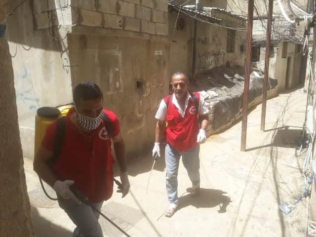 اللجان العمالية الشعبية الفلسطينية في منطقة صيدا تستكمل حملة التعقيم والرش