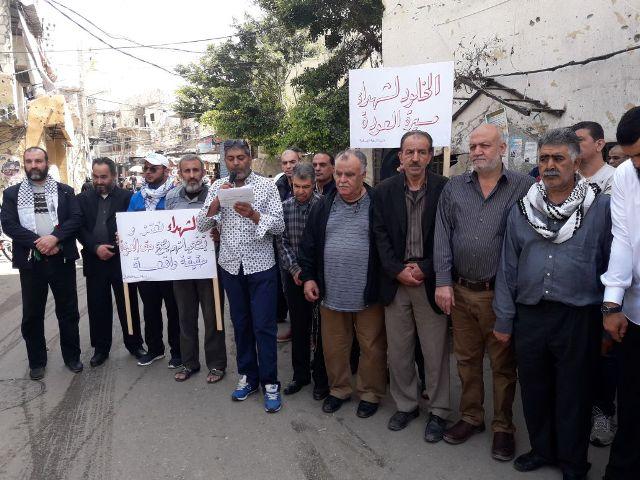 المبادرة الشعبية في مخيم عين الحلوة تقيم اعتصامًا مواكبًا لمسيرة العودة الكبرى