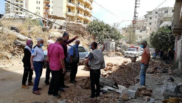 استئناف العمل في مشروع إصلاح المدخل الجنوبي لمخيم البداوي