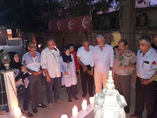 اللجان الشعبية العمالية في منطقة صيدا تضيء الشموع لمناسبة ذكرى استشهاد أبي علي مصطفى
