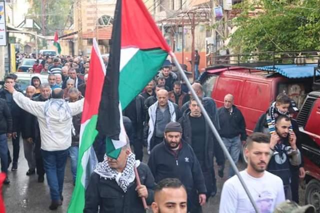 مسيرات غاضبة في مخيمي البرج الشمالي والبص تنديدًا بصفقه القرن