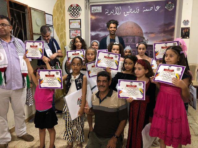 أبناء الملتقى الفلسطيني للشطرنج: حنظلة: لا نؤمن إلا بالمقاومة لتحرير كل فلسطين