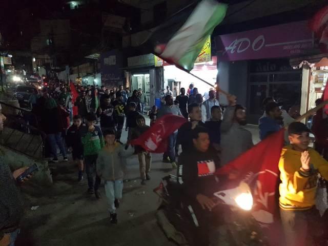 مسيرة جماهيرية في مخيم البداوي دعمًا للشعب الفلسطيني في غزة