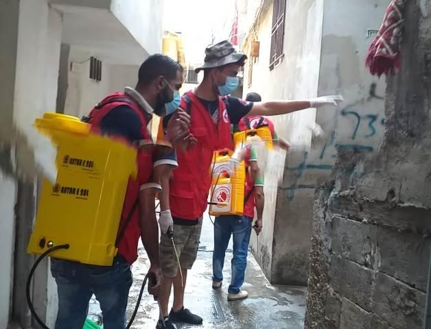 اللجان العمالية الشعبية الفلسطينية في منطقة صيدا تتابع حملة التعقيم والرش في عين الحلوة