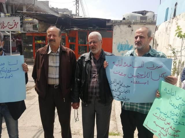 هيئة العمل الفلسطيني المشترك واللجان الشعبية لمنظمة التحرير الفلسطينية تنظمان اعتصامًا في عين الحلوة