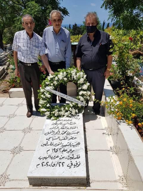 الجبهة الشعبية تضع إكليلاً من الورد على ضريح القائد والمفكر الوطني د. حسين ابو النمل