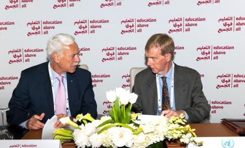 مؤسسة التعليم فوق الجميع توقع اتفاقية مع الأونروا لتوفير التعليم الطارئ للاجئين الفلسطينيين