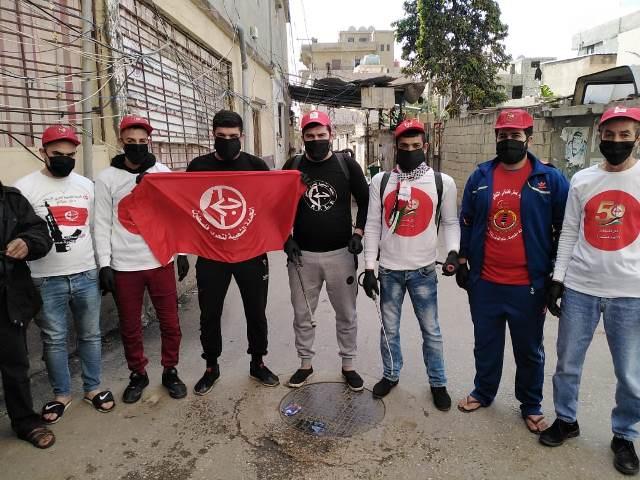 فريق الشهيد وديع حداد يطلق حملة تعقيم في مخيم الرشيدية