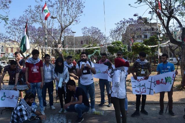وقفة تضامنية في ساحةالتل بطرابلس دعمًا للأسرى المضربين عن الطعام