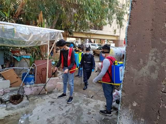 منظمة الشبيبة الفلسطينية وآمنون يعقمون شوارع شاتيلا