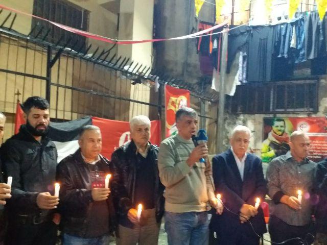 الشعبية في مخيم شاتيلا تضيء الشموع على روح الشهيد أحمد جرار