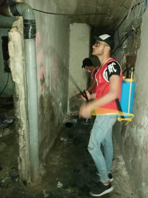 منظمة الشبيبة الفلسطينية ترش المبيدات في مخيم شاتيلا