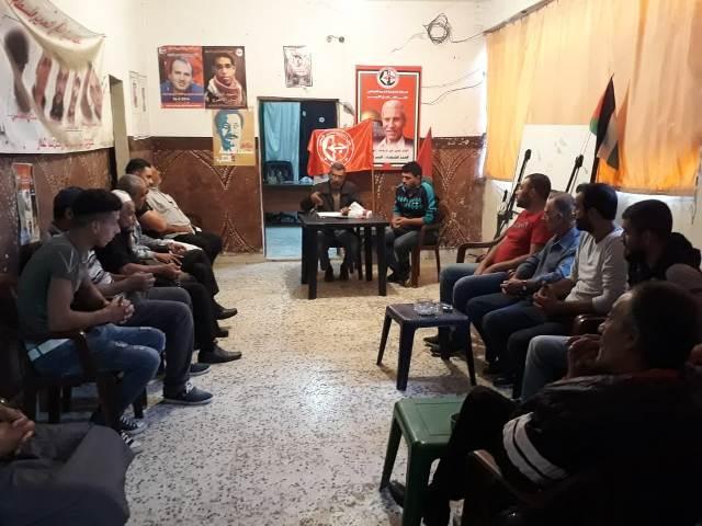 لجان العمال الشعبية الفلسطينية تقيم لقاءً سياسيًا في مخيم الرشيدية