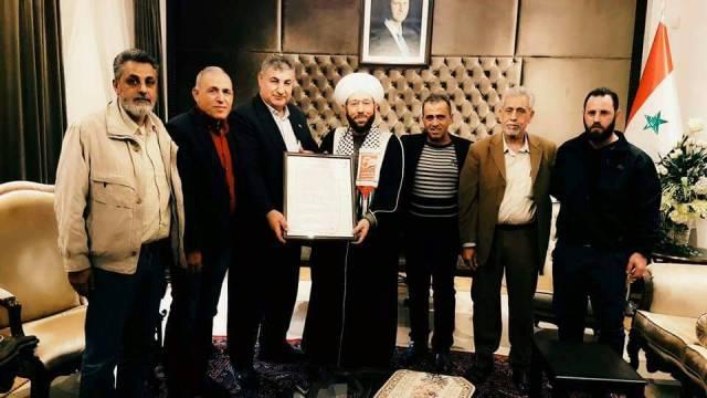 وفد من لجنة الأسرى والمحررين الفلسطينيين يزورون مفتي الجمهورية العربية السورية