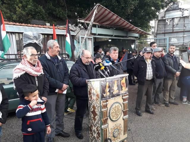 الفصائل الفلسطينية في وادي الزينة يعتصمون رفضًا لصفقة القرن